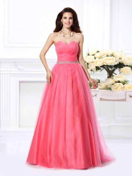 Sweetheart Pleats Satin Ball Gown Quinceanera Prom Dresses
