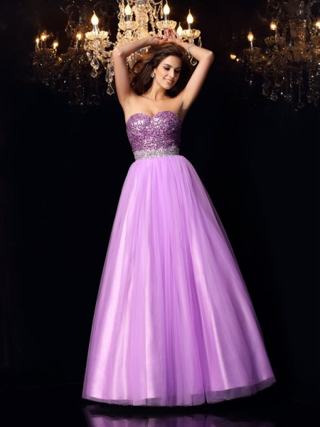 Sweetheart Sequin Elastic Woven Satin Ball Gown Quinceanera Dresses