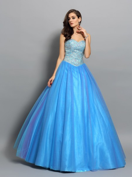 Sweetheart Beading Elastic Woven Satin Ball Gown Quinceanera Dresses