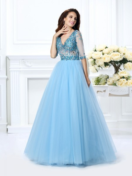 V-neck Beading Satin Ball Gown Quinceanera Dresses