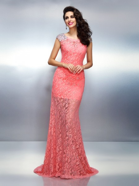 Mermaid Bateau Beading Satin Prom Dresses