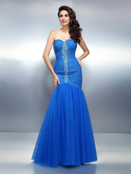 Mermaid Sweetheart Rhinestone Satin Prom Dresses