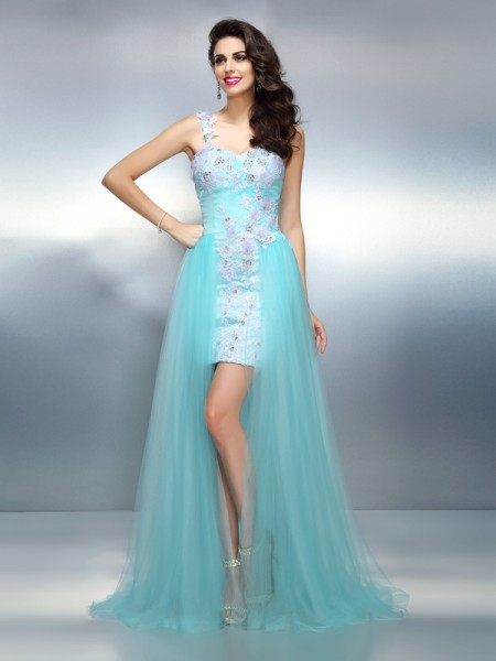 Sheath One-Shoulder Applique Elastic Woven Satin Prom Dresses