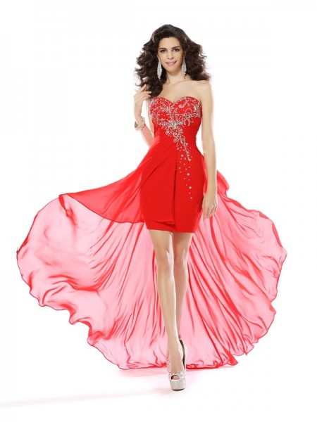 Sheath Sweetheart Beading Short Chiffon Cocktail Prom Dresses