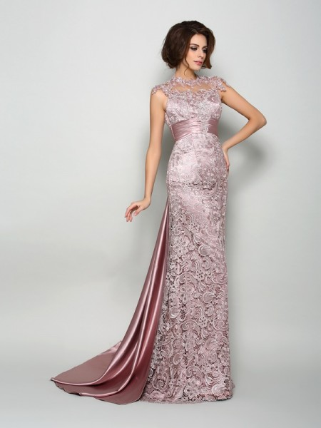 A-Line High Neck Elastic Woven Satin Mother of the Bride Dresses