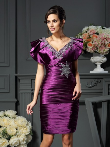 Sheath V-neck Beading Short Elastic Woven Satin Mother of the Bride Dresses