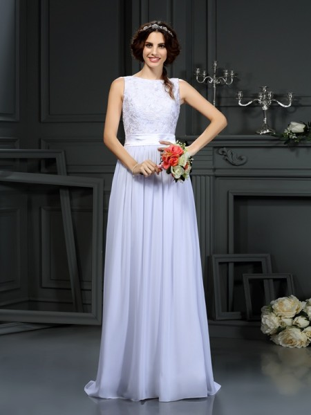 A-Line Scoop Lace Chiffon Wedding Prom Dresses
