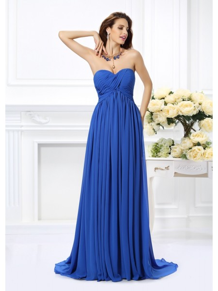 A-Line Sweetheart Ruched Chiffon Dresses