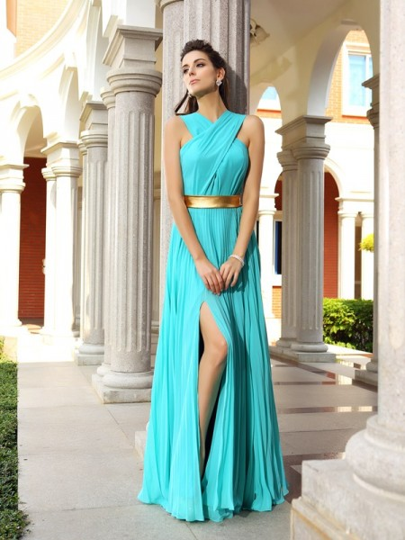 A-Line Pleats Chiffon Prom Dresses