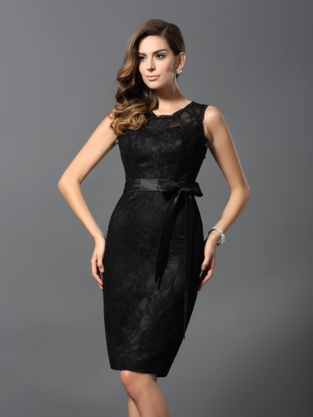 Sheath Jewel Lace Short Satin Cocktail Dresses
