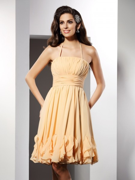 A-Line Halter Ruffles Short Chiffon Homecoming Dresses