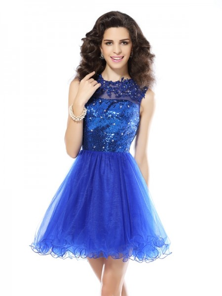 A-Line Scoop Paillette Short Net Homecoming Dresses
