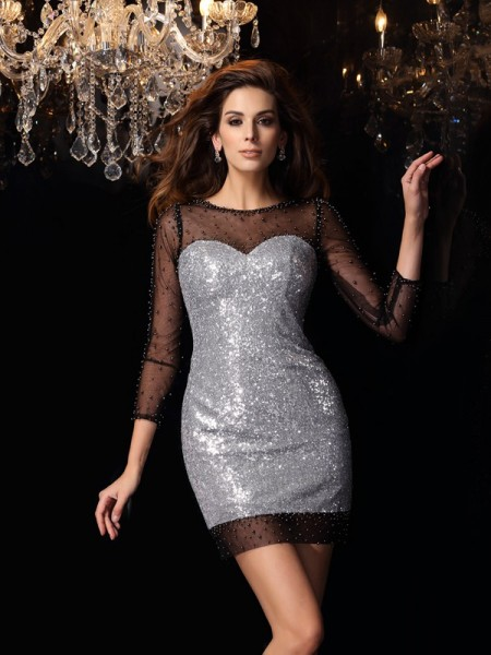 Sheath Scoop Beading Short Sequins Homecoming Dresses