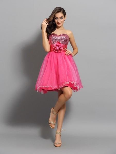 A-Line Sweetheart Ruffles Short Net Homecoming Dresses