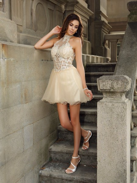 A-Line High Neck Ruffles Short Tulle Homecoming Dresses