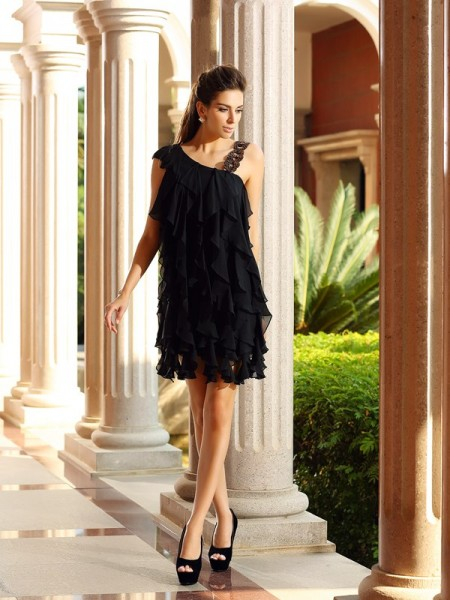A-Line Ruffles Short Chiffon Homecoming Dresses