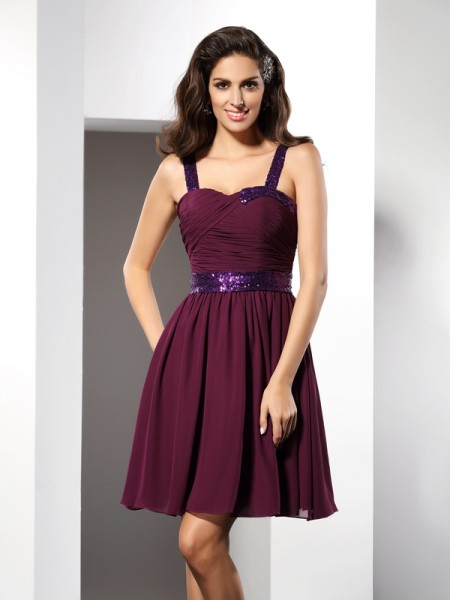A-Line Straps Ruched Short Chiffon Homecoming Dresses