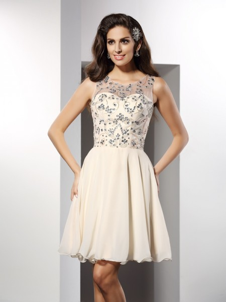 A-Line Bateau Beading Short Chiffon Homecoming Dresses