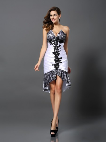 Sheath Sweetheart Lace High Low Elastic Woven Satin Homecoming Dresses