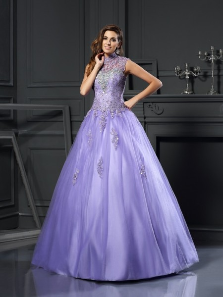 High Neck Beading Net Ball Gown Quinceanera Dresses