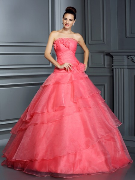 Strapless Hand-Made Flower Organza Ball Gown Quinceanera Dresses
