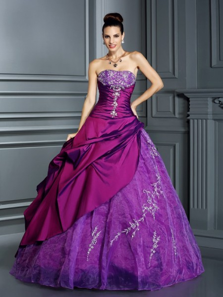 Strapless Applique Taffeta Ball Gown Quinceanera Dresses