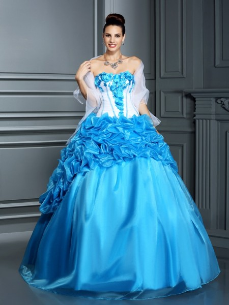 Sweetheart Ruffles Satin Ball Gown Quinceanera Dresses
