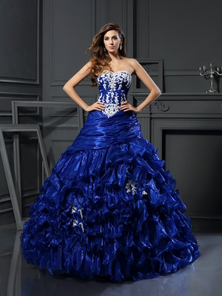 Sweetheart Beading Applique Tulle Ball Gown Quinceanera Dresses