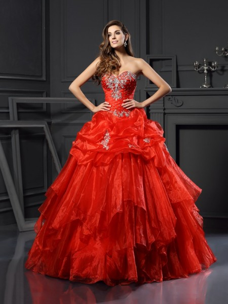 Sweetheart Beading Tulle Ball Gown Quinceanera Dresses