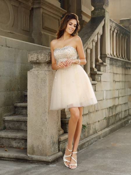 A-Line Strapless Beading Short Satin Homecoming Dresses