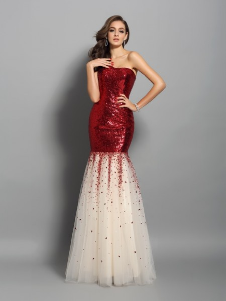 Mermaid One-Shoulder Sequins Prom Dresses