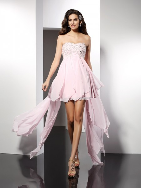A-Line Sweetheart Applique High Low Chiffon Homecoming Dresses