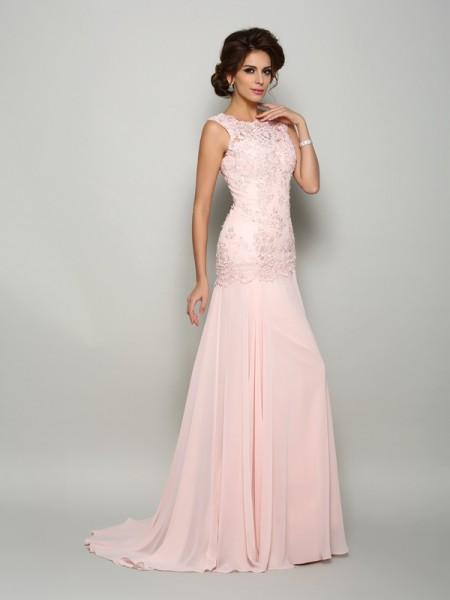 Mermaid Scoop Beading Chiffon Mother of the Bride Dresses