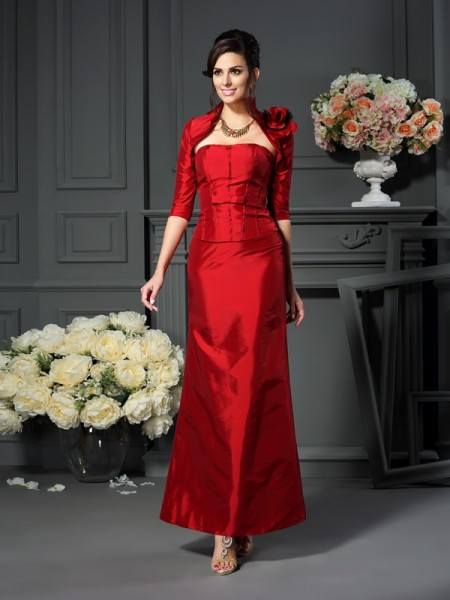 A-Line Strapless Hand-Made Flower Taffeta Mother of the Bride Dresses