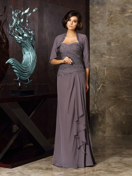 Sheath Sweetheart Beading Applique Chiffon Mother of the Bride Dresses