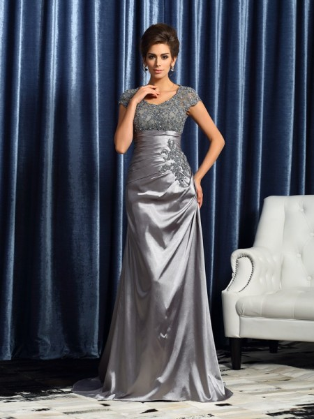Mermaid Scoop Beading Taffeta Mother of the Bride Dresses