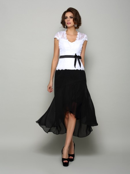 A-Line V-neck Sash/Ribbon/Belt High Low Chiffon Mother of the Bride Dresses
