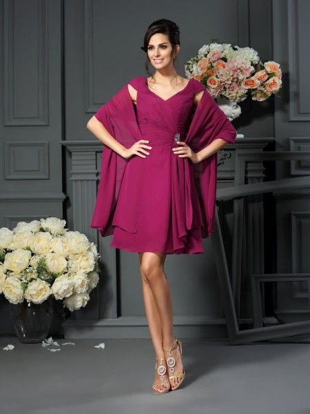 A-Line V-neck Pleats Short Chiffon Mother of the Bride Dresses