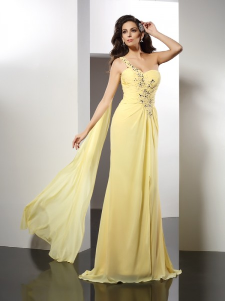 A-Line One-Shoulder Beading Chiffon Dresses