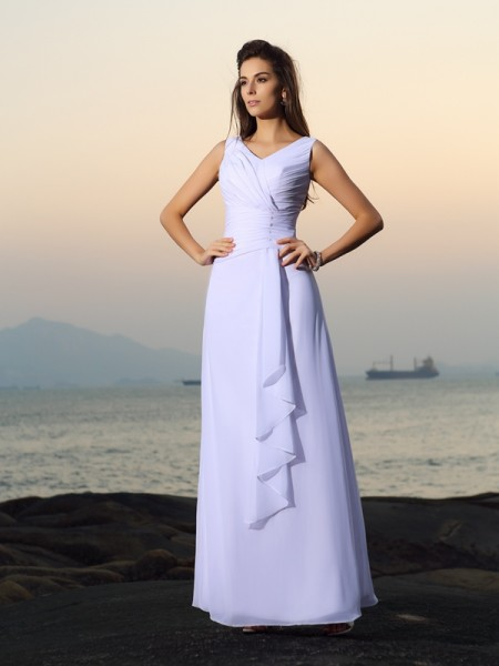 A-Line V-neck Pleats Chiffon Beach Wedding Dresses