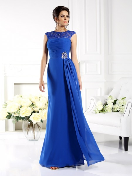 A-Line Bateau Applique Chiffon Mother of the Bride Dresses