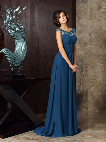 A-Line Scoop Beading Chiffon Mother of the Bride Dresses