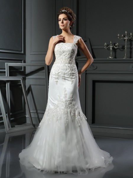 Mermaid Straps Applique Satin Wedding Dresses