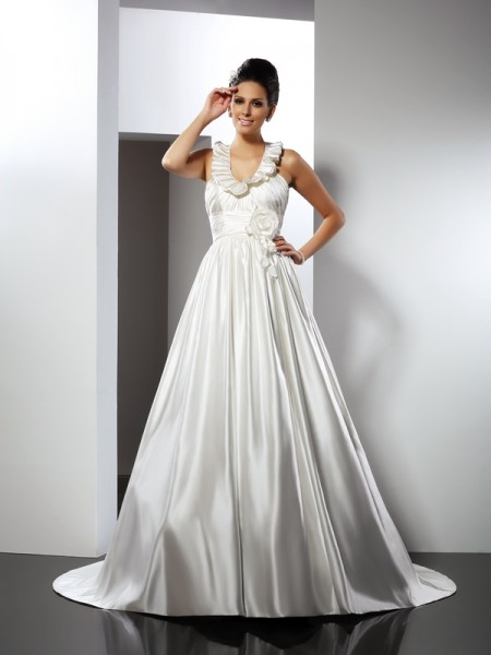 A-Line Halter Hand-Made Flower Satin Wedding Dresses