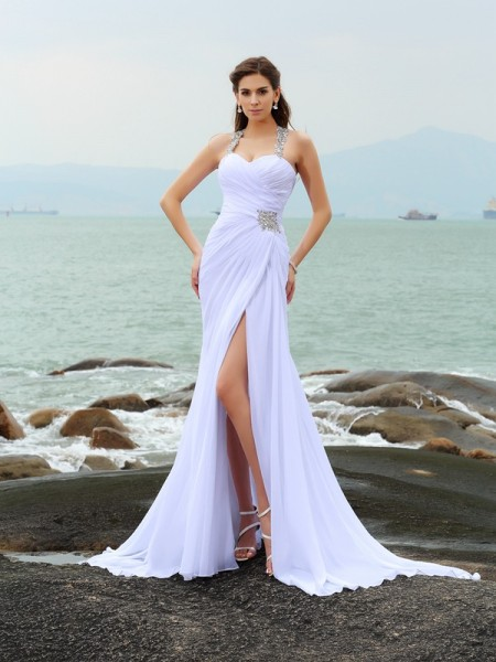 Sheath Straps Beading Chiffon Beach Wedding Dresses