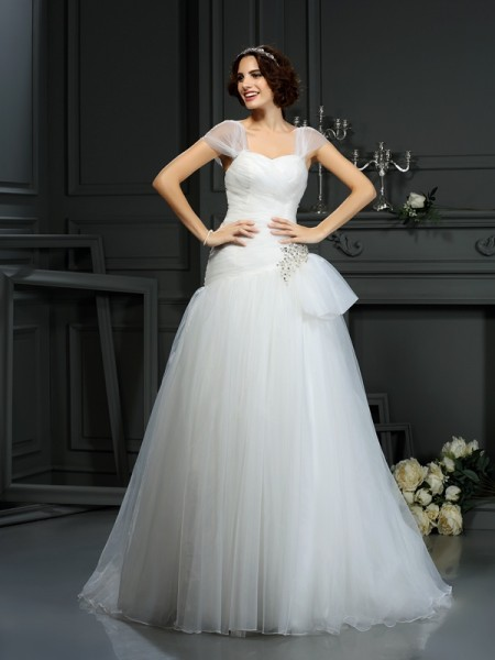 A-Line Sweetheart Beading Organza Wedding Dresses