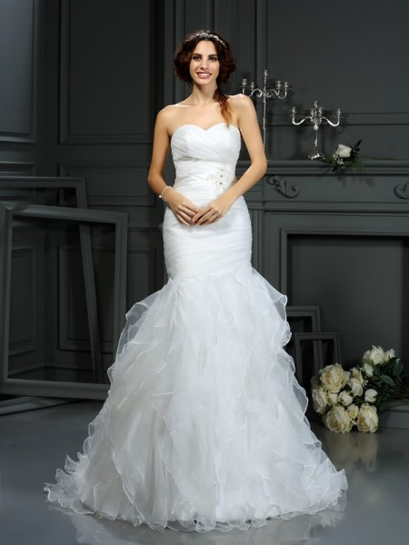 Mermaid Sweetheart Beading Organza Wedding Dresses