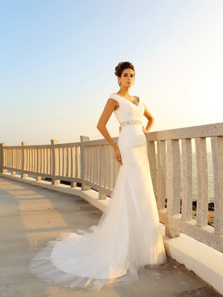 Sheath V-neck Pleats Net Beach Wedding Dresses