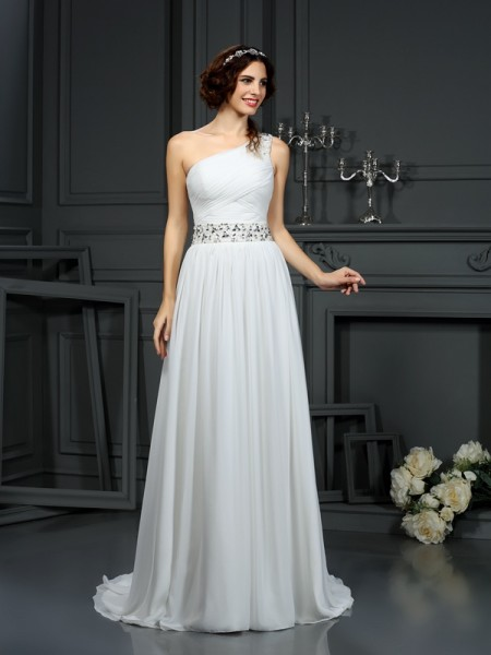 A-Line One-Shoulder Beading Chiffon Wedding Dresses