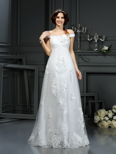 A-Line Off-the-Shoulder Applique Net Wedding Dresses